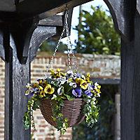 Smart Garden Multicolour Pansy artificial Hanging basket, 30cm