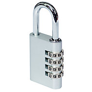 Smith & Locke Aluminium & Steel Open shackle Combination Padlock (W)40mm