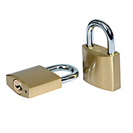 Smith & Locke Brass Cylinder Open shackle Padlock (W)30mm, Pack of 2