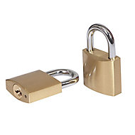Smith & Locke Brass Cylinder Open shackle Padlock (W)40mm, Pack of 2