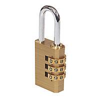 Smith & Locke Brass & Steel Open shackle Combination Padlock (W)30mm