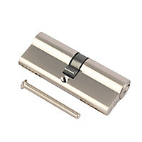 Smith & Locke Nickel effect Brass Single Euro Cylinder lock, (L)100mm (W)33mm
