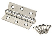 Smith & Locke Polished Grade 7 Ball bearing Fire door hinge, Pack of 2