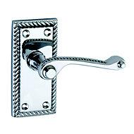 Smith & Locke Short Georgian Polished Chrome effect Zinc alloy Scroll Latch Door handle (L)89mm