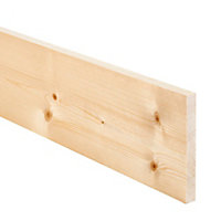 Smooth Planed Square edge Spruce Timber (L)2.4m (W)144mm (T)18mm, Pack of 8