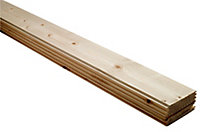 Smooth Spruce Tongue & groove Cladding (L)0.89m (W)95mm (T)7.5mm, Pack of 10