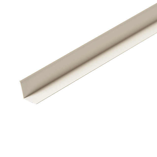 Smooth White Pvc Angled Edge Moulding L 2 4m W 25mm T 25mm Diy At B Q
