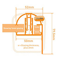 SNAPA White PVC Glazing bar & cap, (L)3m (W)52mm (T)79.5mm