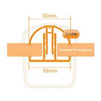 SNAPA White PVC Glazing bar, (L)3m (W)45mm (T)25mm