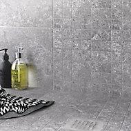 Soft lime stone Grey Matt Patterned Stone effect Porcelain Wall & floor Tile, Pack of 7, (L)600mm (W)300mm