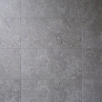 Soft lime stone Grey Matt Stone effect Porcelain Floor tile, Pack of 7, (L)600mm (W)300mm