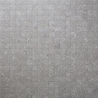 Soft lime stone Grey Stone effect Mosaic Porcelain Mosaic tile, (L)300mm (W)300mm