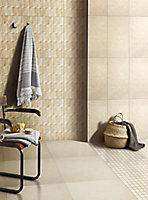 Soft lime stone Warm cream Stone effect Mosaic Porcelain Mosaic tile, (L)300mm (W)300mm