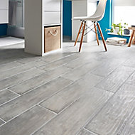 Soft patinated Grey Matt Wood effect Porcelain Floor tile, Pack of 11, (L)600mm (W)150mm