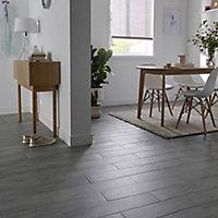 Soft patinated Grey Matt Wood effect Porcelain Wall & floor Tile, Pack of 11, (L)600mm (W)150mm