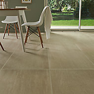 Soft travertin Beige Matt Patterned Stone effect Travertine Wall & floor Tile, Pack of 3, (L)600mm (W)600mm