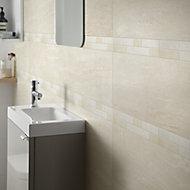 Soft travertin Beige Matt Stone effect Ceramic Wall tile, Pack of 9, (L)600mm (W)200mm