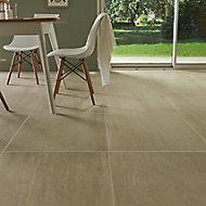 Soft travertin Beige Matt Stone effect Travertine Floor tile, Pack of 3, (L)600mm (W)600mm