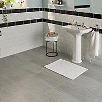 Soft travertin Grey Matt Patterned Stone effect Porcelain Wall & floor Tile, Pack of 7, (L)600mm (W)300mm