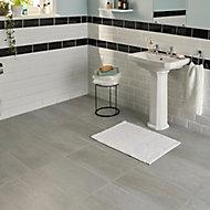 Soft travertin Grey Matt Stone effect Porcelain Floor tile, Pack of 7, (L)600mm (W)300mm