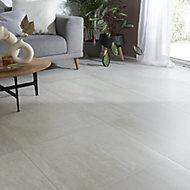 Soft travertin Ivory Matt Patterned Stone effect Travertine Wall & floor Tile, Pack of 3, (L)600mm (W)600mm