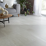Soft travertin Ivory Matt Stone effect Travertine Floor tile, Pack of 3, (L)600mm (W)600mm
