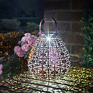 Solar Bronze effect Pear Solar-powered LED Outdoor Lantern