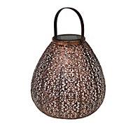 Solar Bronze effect Pear Solar-powered LED Outdoor Lantern