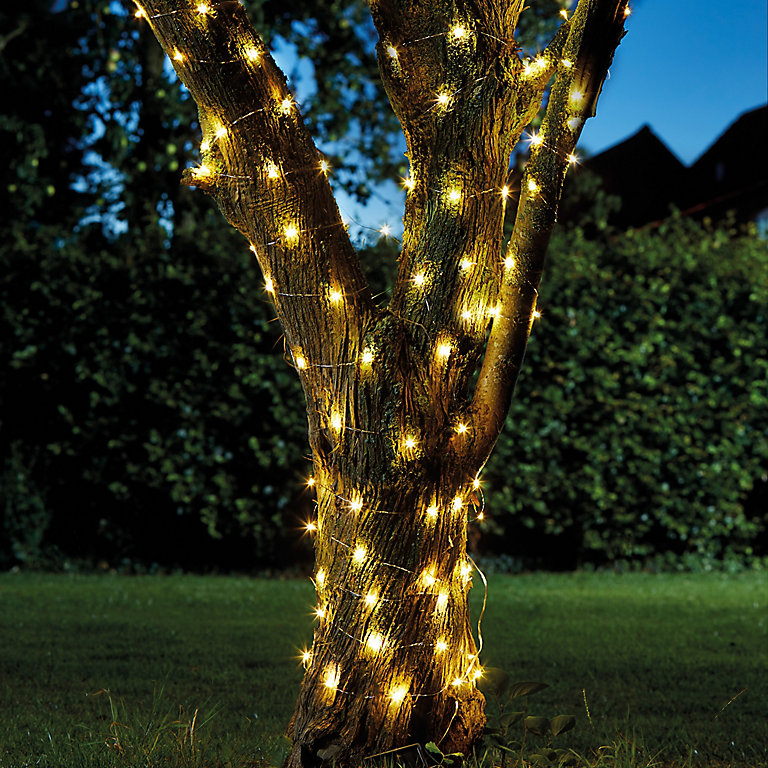 Solar Firefly Solar Powered Warm White 100 Led Outdoor String Lights Diy At B Q