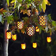 Solar Flaming lantern Solar-powered Orange 10 LED Outdoor String lights