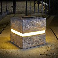Solar Grey Cube Solar-powered LED Outdoor Ground light