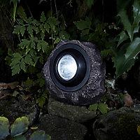 Solar Grey Rock Solar-powered LED Outdoor Ground light