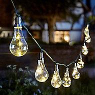 Solar Lightbulb Solar-powered Warm white 10 LED Outdoor String lights