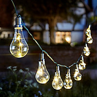 Solar Lightbulb Solar-powered Warm white 10 LED Outdoor String lights