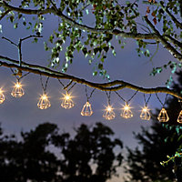 Solar Metal cage Solar-powered Warm white 10 LED Outdoor String lights
