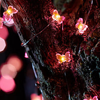 Solar Pink butterfly Solar-powered Warm white 30 LED Outdoor String lights