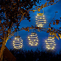 Solar Silver effect Spiral Solar-powered LED Outdoor Hanging light, Pack of 4