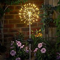Solar Silver effect Starburst Solar-powered LED Outdoor Stake light