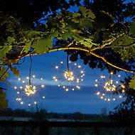 Solar Starburst Solar-powered Warm white & multicolour 96 LED Outdoor String lights, Set of 3