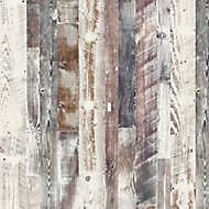 Splashwall Elite Matt Antique limed Pine 3 sided Shower Wall panel kit (L)2420mm (W)1200mm (T)11mm