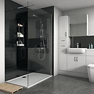 Splashwall Gloss Black Tile effect 2 sided Shower Panel kit (L)1200mm (W)2420mm (T)3mm
