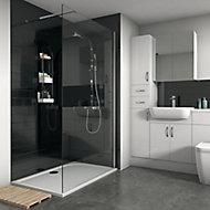 Splashwall Gloss Brushed black Tile effect Shower Panel (H)2420mm (W)1200mm (T)3mm