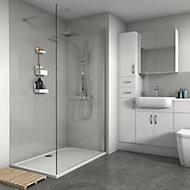Splashwall Gloss Chrome effect 3 sided Shower Panel kit (L)1200mm (W)1200mm (T)4mm
