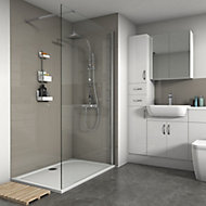Splashwall Gloss Coffee Tile effect 2 sided Shower Panel kit (L)1200mm (W)2420mm (T)3mm