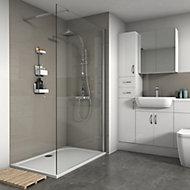 Splashwall Gloss Coffee Tile effect Shower Panel (W)1200mm (T)3mm