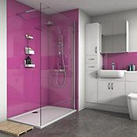 Splashwall Gloss Fuchsia 2 sided Shower Panel kit (L)1200mm (W)1200mm (T)4mm