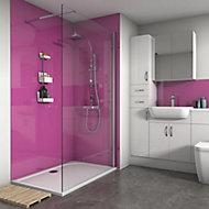 Splashwall Gloss Fuchsia 3 sided Shower Panel kit (L)1200mm (W)1200mm (T)4mm