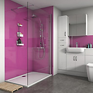 Splashwall Gloss Fucshia Shower Panel (H)2420mm (W)900mm (T)4mm