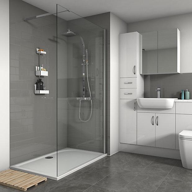 Splashwall Gloss Grey Tile Effect, Boards For Bathroom Walls