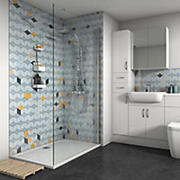 Splashwall Gloss Multicolour Shower Panel (H)2420mm (W)1200mm (T)4mm
